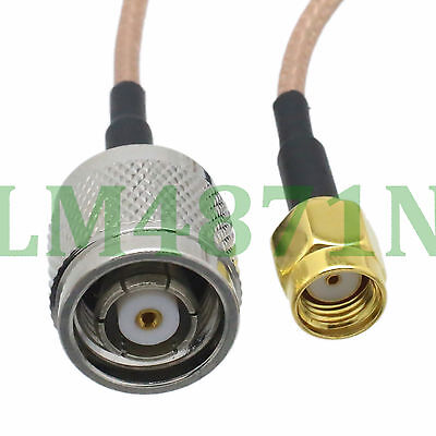 """cable RP.TNC male jack to RP.SMA male jack straight crimp RG316 6"""" pigtail"""