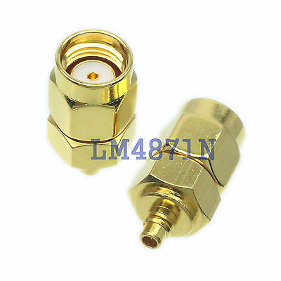 1pce Adapter RP.SMA male jack to MMCX male plug RF connector straight M/M