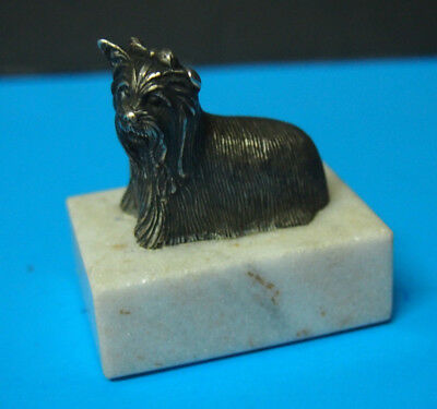 Exquisite Vintage S.Kirk & Son sterling silver dog miniature figure paperweight