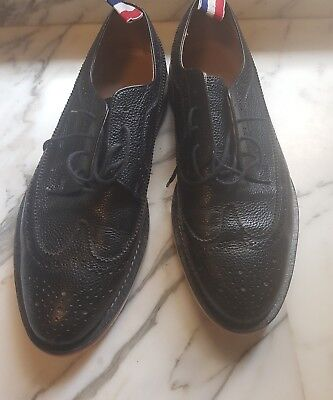 Mens Black leather Brogues, with red white blue detailing. 29cm long internally.