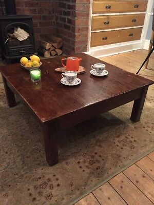 Antique Vintage Coffee Table Old Infant School Art Table Chunky! Solid!
