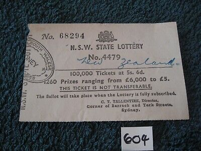 Predecimal NSW State Lottery Ticket 1960's