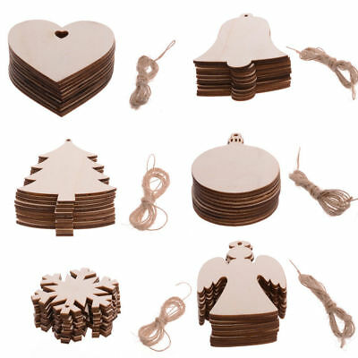 10Pc Christmas Decorations Tree Wooden Heart Shapes Blank Painting Craft Hanging