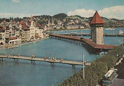 Lucerne, River Reuss And Chapel Bridge  Free Shipping