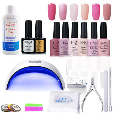 6pcs Nail Gel Polish + 24W LED Lamp + Top Base + Manicure Kit Tools Gift Set HNM