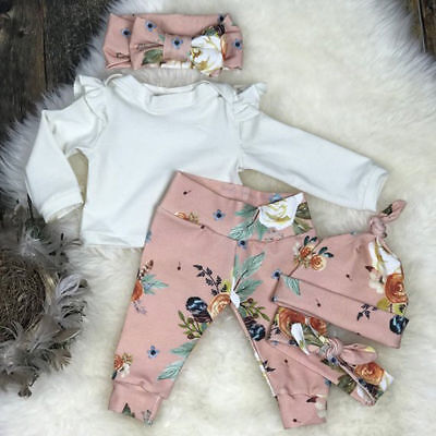 3PCS Cute Newborn Baby Girls Tops Pink Floral Pants Headband Outfits Set Clothes