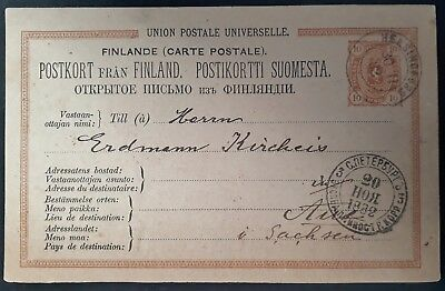RARE 1882 Finland Postcard ties 10P stamp canc Helsinki to Aue Germany