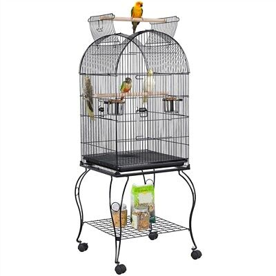 """59"""" Large Rolling Parrot Cockatiel Parakeet Conure Bird Cage w/Open Play Top"""