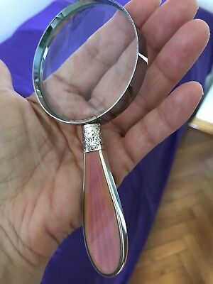Antique  Silver & Pink Enamel Magnifying Glass Sheffield 1906