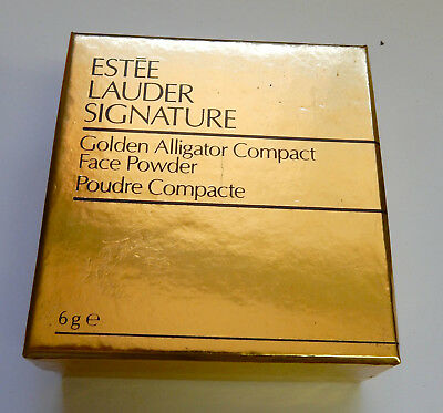Vintage 'estee Lauder Signature'...golden Alligator Compact..with Box