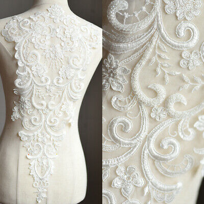 1Pcs Ivory Beaded Sequins Flower Embroidered Wedding Dress Bridal Lace Applique