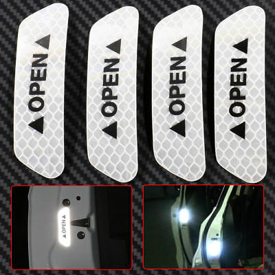 4x Super White Car Door Open Sticker Reflective Tape Safety Warning Decal WT