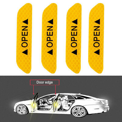 4x Super Yellow 4x Car Door Open Sticker Reflective Tape Safety Warning Decal HS