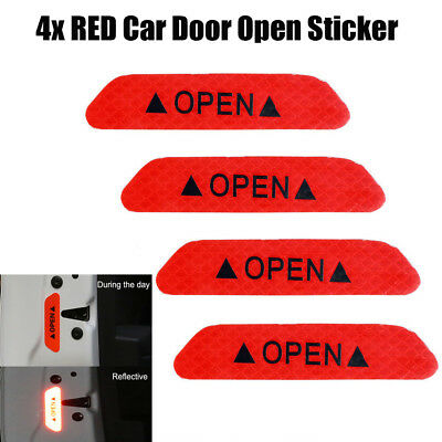 4x Super RED Car Door Open Sticker Reflective Tape Safety Warning Decal RD