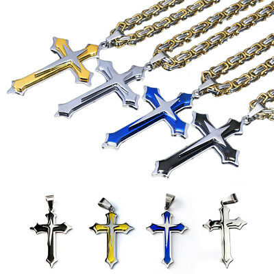 Mens Boys Stainless Steel Cross Prayer Pendant Necklace with Byzantine Chain