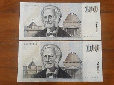 2X OLD AUSTRALIAN $100 BANK NOTE CONSECUTIVE SERIAL UNC - Estate Collection