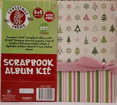 "8X8"" Christmas Scrapbook Album & Kit 10 Pages,10 Inserts, 10 Print Papers etc.."