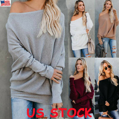 Women Long Sleeve Baggy Ladies Pullover Tops Knitted Oversized Sweater Jumper US