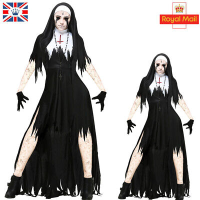 Ladies Zombie Nun Halloween Cosplay Costume Satanic Sister Fancy Dress Outfit UK