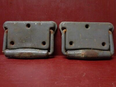 2 Vintage Shabby Heavy Duty Toolbox Drawer Door Drop Handles #02