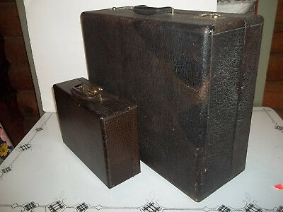Antique Walrus Hide  and Aligator hide  Leather Suitcases Luggage