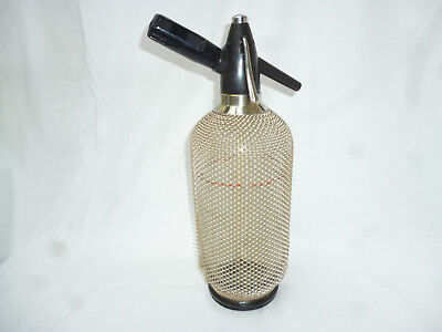 LARGE MESH COVERED SODA SYPHON with BULB HOLDER - Retro 1970s Mid Century Modern
