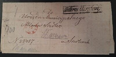 """RARE Undated Poland Pre-stamp Folded letter from Warsaw """"Government Interest"""""""