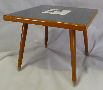 Vintage Mid century Coffee table with Collie tiled top