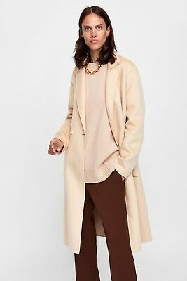 acf09b06 Zara Aw18 Masculine Double-Breasted Coat Light Beige Xs S M L Xl Ref. 7522/