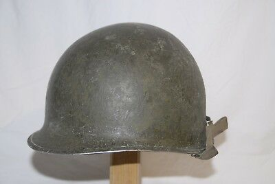 """WW2 WWII US Original M1 helmet fixed bails, No. """"1"""" on the back"""