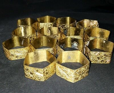 Lot of 14 Ornate Thin Brass Napkin Rings Pentagon Scrolling Design
