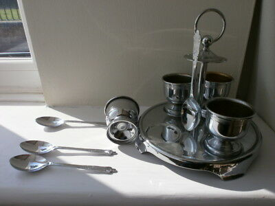 Vintage Chrome Plated 4 Egg Cups And Hanging Spoons On Stand