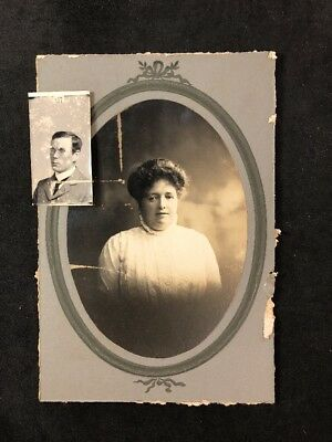 Victorian Photo: Cabinet Card: Mystery Lady Plus Stuck Photo Of Small Gent