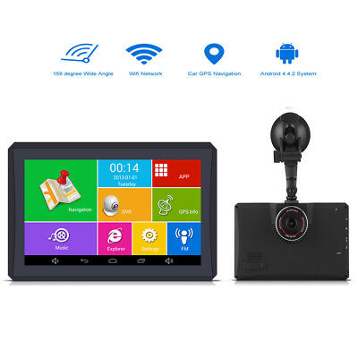 7'' Android 4.4 Car GPS 1080P DVR Recorder FM 512MB 8G North America Free Map