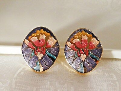 "Beautiful Large Vintage Flower Design ""cloissone"" Clip Earrings"