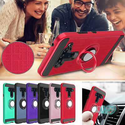 For LG V40 ThinQ Case Hybrid Shockproof Ring Holder Stand Rugged Phone Cover