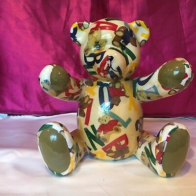 Vintage Ceramic Quilted Looking Teddy Bear Bank