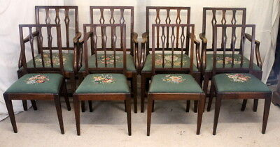 Set of Eight Victorian Antique Mahogany Dining Chairs with Split Rail Backs