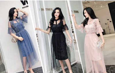 Womens Long Sleeved Party Dresses Sweet Mesh Streetwear Mid Calf Summer Laces