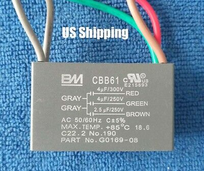 US Seller New BM CBB61 4uF+4uF+2.5uF 5 WIRE 250V/300VAC Ceiling Fan Capacitor