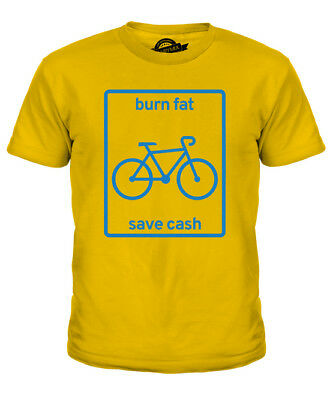 Burn Fat And Save Cash Kids T-Shirt Tee Top Gift Cycling Fitness