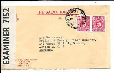 JAMAICA KG6 KINGSTON 2d CENSORED SALVATION ARMY COVER