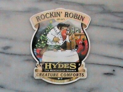 Hydes Rockin' Robin real ale beer pump clip sign christmas theme