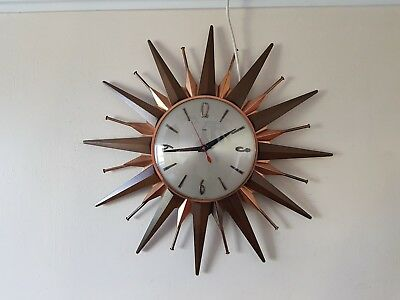 FANTASTIC VINTAGE RETRO 1960's ICONIC METAMEC SUNBURST STARBURST WALL CLOCK