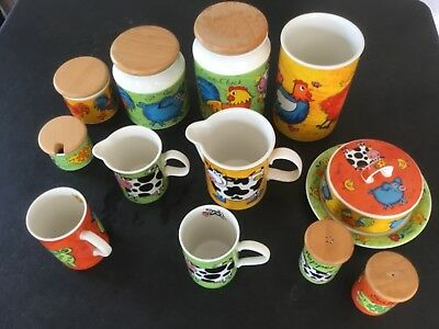 Collection of Dunoon Funky Farm stoneware, by Jane Brookshaw
