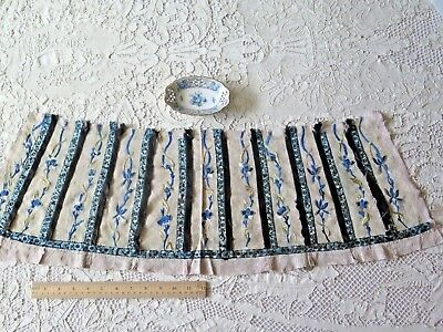 "Antique 19thC Chinese Indigo Silk Embroidery Fabric~L-10""X W-31"""