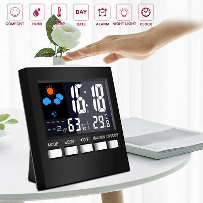 Digital Display Thermometer humidity clock Colorful LCD Alarm Calendar Weather