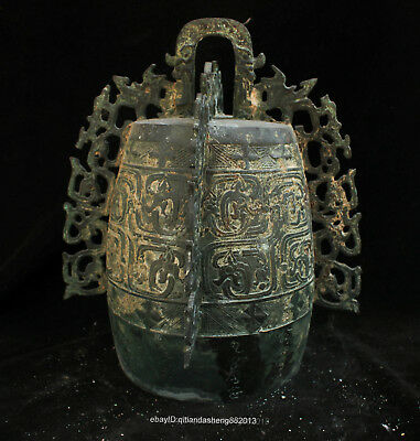 Certified100% Chinese  Ancient Bronze Ware Flat clock instruments Bell Statue