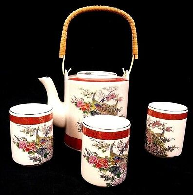 Tea Pot & 3 Cups Satsuma Japan Peacock and Flowers Design Vintage