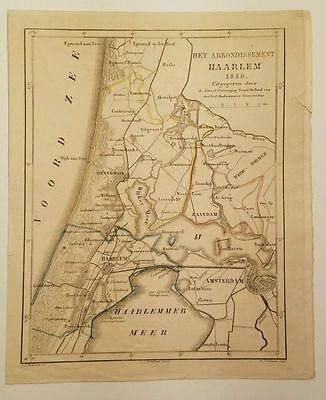 Antique Map Haarlem Amsterdam Netherlands  Hand Colored C.L. Brinkman 1849